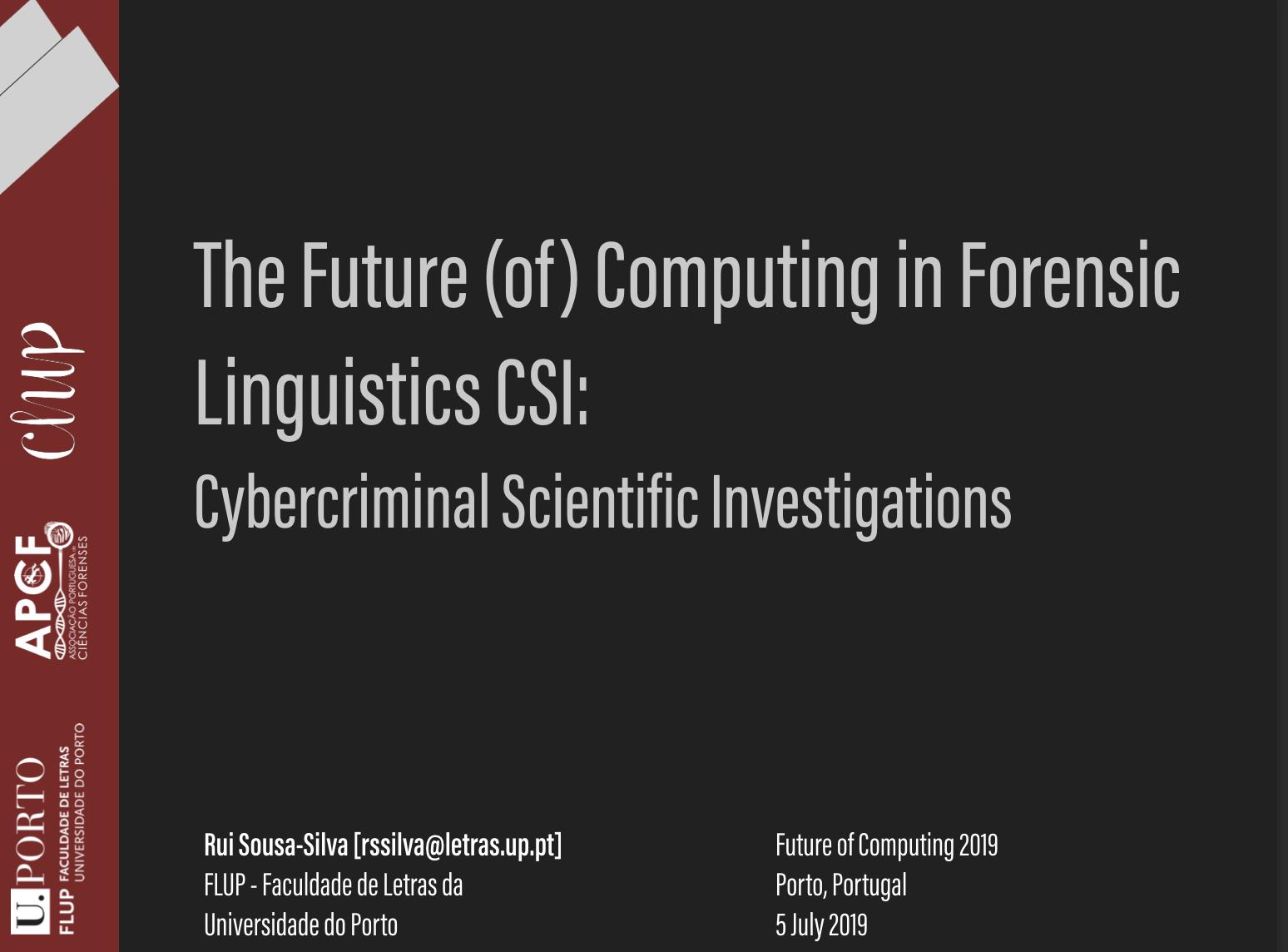 The Future Of Computing In Forensic Linguistics Csi Cybercriminal Scientific Investigations Linguistica Forense